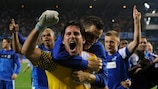 László Köteles celebrates after the shoot-out that sent Genk into the group stage