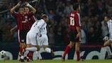 Zinédine Zidane celebra su gol en Glasgow