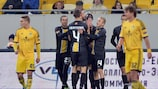 Los jugadores del Lokeren celebran la victoria
