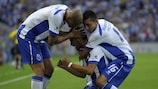 Rúben Neves (centre) is congratulated by Maicon and Hector Herrera after scoring on his debut