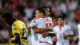 Sevilla celebrate Kevin Gameiro's winner at Estoril on matchday one