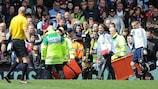 Eden Hazard leaves the field at Villa Park on Saturday