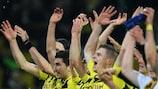 Los jugadores del Dortmund celebran el triunfo por 3-2 ante el Málaga