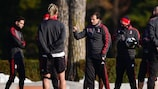 Milan coach Massimiliano Allegri gets his message across during Tuesday's training session