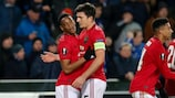 Anthony Martial (left) celebrates with Manchester United captain Harry Maguire