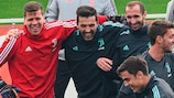 Juventus players enjoy themselves in training ahead of the Lyon opener