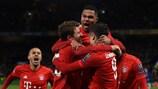 Serge Gnabry celebrates after scoring Bayern's first goal at Stamford Bridge