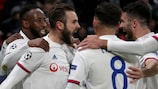 Lyon's Lucas Tousart  is congratulated after scoring the only goal against Juventus