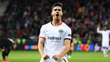 André Silva celebrates one of his two goals for Frankfurt at Salzburg