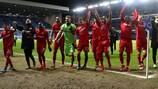 Leverkusen celebrate  after their 3-1 win away to Rangers