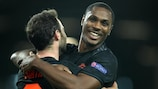 Odion Ighalo celebra su gol ante el LASK