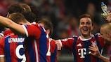 Bayern celebrate at full time of their 6-1 defeat of Porto
