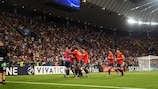 Spain celebrate scoring in the final