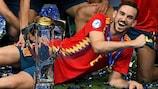Fabián Ruiz fête la victoire de l'Espagne à l'EURO des moins de 21 ans.