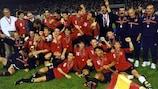 Spain celebrate after winning the final in Bucharest