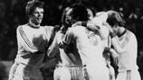 Bayern celebrate scoring the winner in the 1975/76 European Cup final