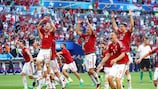 Hungary celebrate after their six-goal thriller against Portugal