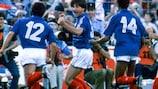 Jean-François Domergue celebrates scoring in the UEFA EURO 1984 semi-final against Portugal