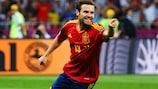Juan Mata celebrates scoring Spain's fourth goal in the UEFA EURO 2012 final win against Italy.