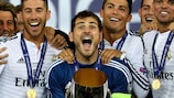 Real Madrid captain Iker Casillas celebrates winning the Super Cup