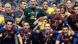 Barcelona celebrate their fourth UEFA Super Cup success