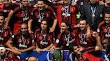AC Milan celebrate winning the 2007 UEFA Super Cup