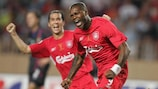Djibril Cissé celebrates scoring Liverpool's equaliser, the first of his two goals