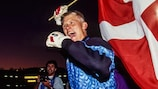 Peter Schmeichel of Denmark celebrates his victory during the European Championship Semi Final match between Denmark and Netherlands at Ullevi, Gothenburg, Sweden on 22 June 1992 ( Photo by Alain Gadoffre / Onze / Icon Sport )