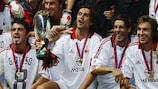Milan celebrate winning the UEFA Super Cup in 2003