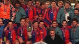 Barcelona celebrate winning the 1997 UEFA Super Cup