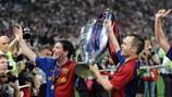 Andrés Iniesta e Lionel Messi dopo la finale di UEFA Champions League 2009