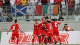 Malta celebrate scoring during their creditable 2-2 draw against Turkey in a UEFA EURO 2008 qualifier in September 2007.