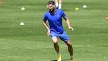Olivier Giroud, durante el entrenamiento (manteniendo la distancia social)