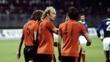 Ruud Geels (centre) after scoring in extra time in Zagreb