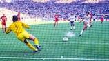 Michel Platini scores from the spot against Belgium