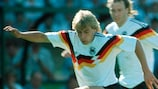 Jürgen Klinsmann skips through a Danish challenge
