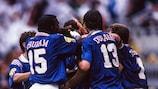 France celebrate a goal against Bulgaria