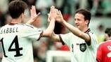 Fredi Bobic of Germany celebrates after beating the Czech Republic