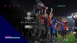 Barcelona celebrate their final victory against Manchester United