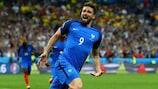 Olivier Giroud fête son but face à la Roumanie à l'EURO 2016
