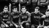 Viktor Ponedelnik (second right) was on target for the USSR