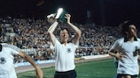 Horst Hrubesch with the trophy after West Germany's final win