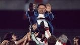 Czechoslovakia players lift up coach Jozef Vengloš