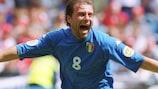 Antonio Conte celebrates scoring Italy's first goal