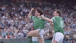 Ray Houghton celebrates putting Ireland ahead with team-mate Ronnie Whelan