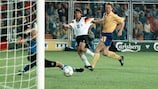 Karl-Heinz Riedle  scores against Sweden
