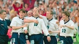 England celebrate a Teddy Sheringham goal against the Netherlands