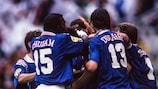 Francia celebra el gol ante Bulgaria