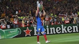 Thierry Henry celebrates his UEFA Champions League triumph with Barcelona