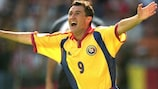 Viorel Moldovan rejoices after giving Romania the lead
